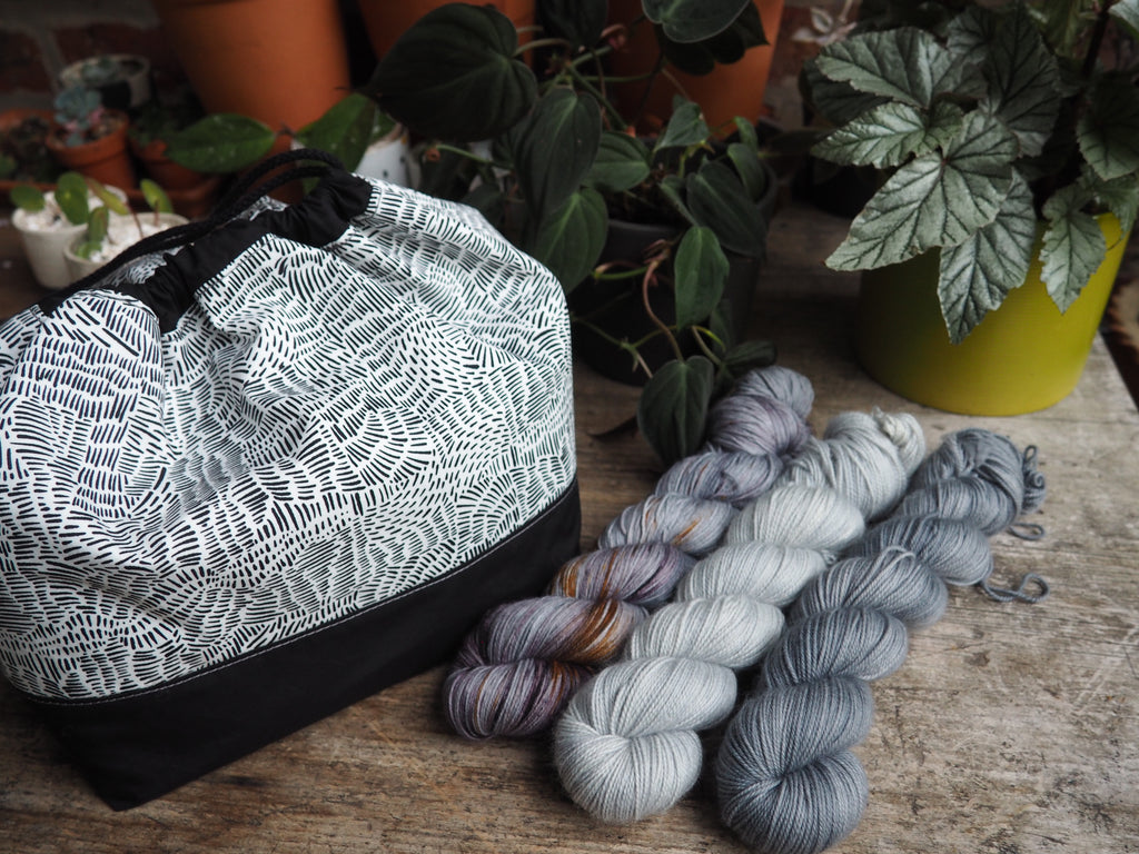 Made to order - Botanical yarn monochrome project bag