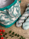 Made to order - Botanical yarn project bag winter berries