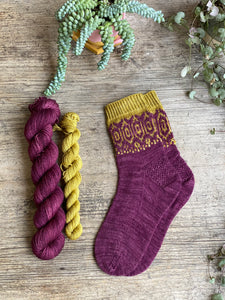 Dyed to order - Sock kit - Intertwined socks by Bloom Create