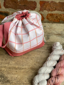Made to order - Botanical yarn project bag peach checks