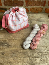 Load image into Gallery viewer, Made to order - Botanical yarn project bag peach checks