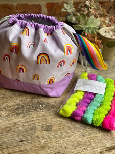 Made to order - Botanical yarn - Project bag style 01 -  lilac rainbow