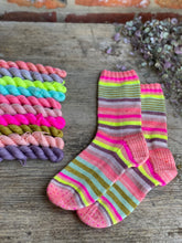 Load image into Gallery viewer, Dyed to order  - Zebra Gum Socks - mini skein set 10 x 20g