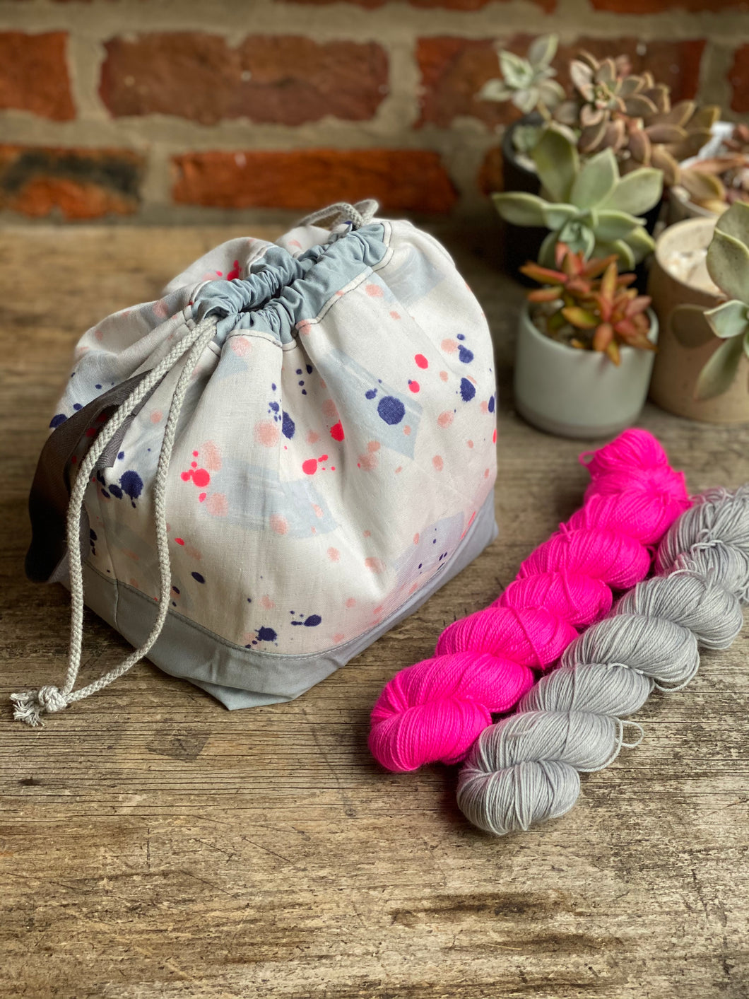 Made to order - Botanical yarn project bag navy and pink neon speckles