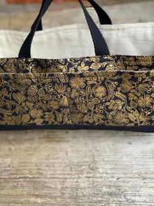 Made to Order - Botanical Yarn - Project bag style 01 -  Black & Gold Floral Tool bag