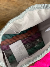 Load image into Gallery viewer, Made to order - Botanical yarn project bag navy and pink neon speckles