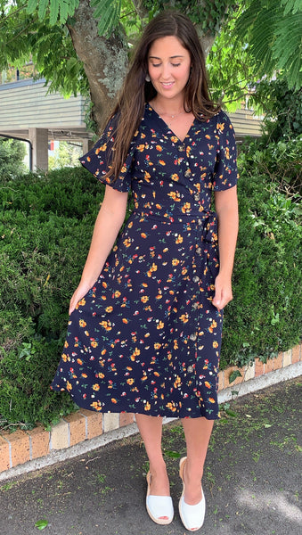 Houston Flutter Sleeve Dress Navy