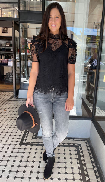 Loral High Neck Lace Top Black