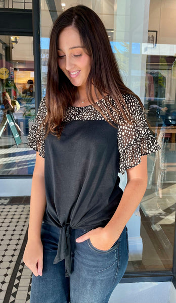 Pebbles Tie Front Top Black