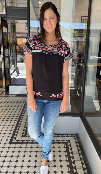 Mexi Embroidered Top Black
