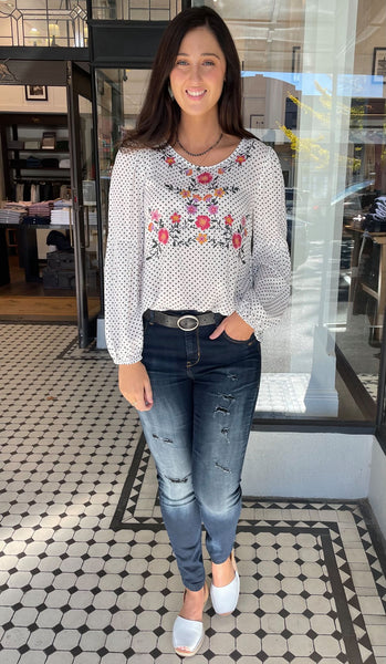 Veronica Polka Dot Embroidered Blouse Off White