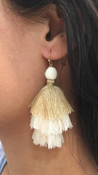Layered Tassel Earrings CREAM
