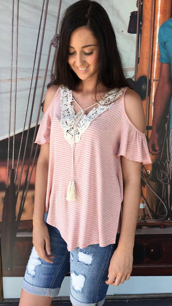 Pretty Vintage Cold Shoulder Top PINK