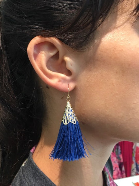 Tassel Earrings 1 NAVY/GOLD