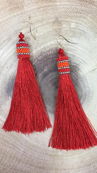 Long Tassel and Beaded Earrings  RED