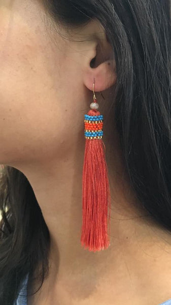Long Tassel and Beaded Earrings  RUST