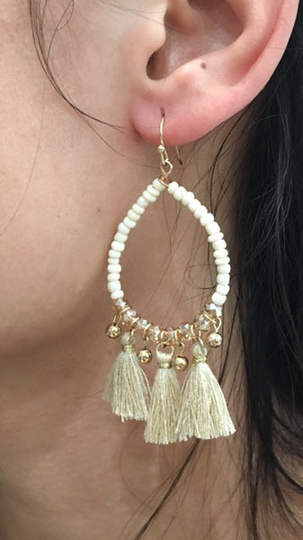 Beads & Mini Tassel Earrings  CREAM/GOLD