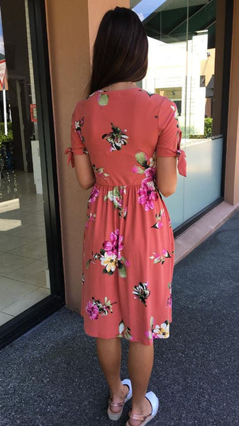 Floral Estate Midi Dress  RUST