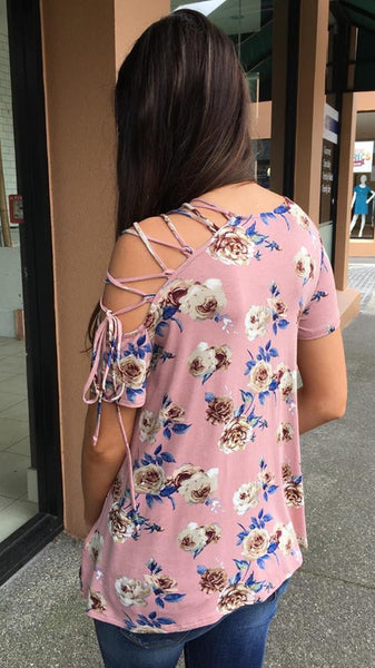All Tied Up Top   MAUVE FLORAL