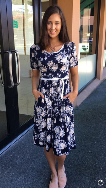 Laurie Foral Dress  NAVY