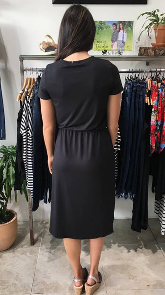 Bex Tie Waist Midi Dress  BLACK