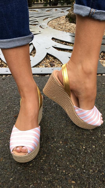 Lovelee Candy Pink Stripe Rope Wedge