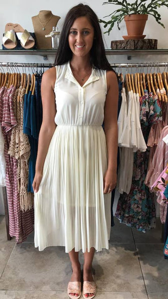 Pretty in Pleats Midi Dress IVORY