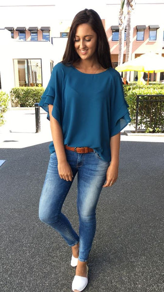 Jaz Ruffle Sleeve Top  Dusty Teal