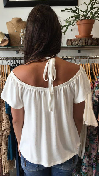 Tied Up Halter Neck Top  OFF WHITE