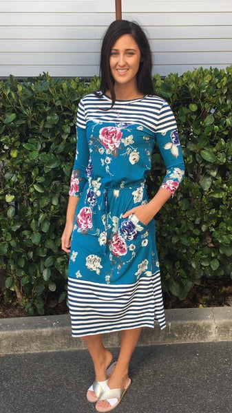 Becky 3/4 Sleeve Midi Dress Teal Floral