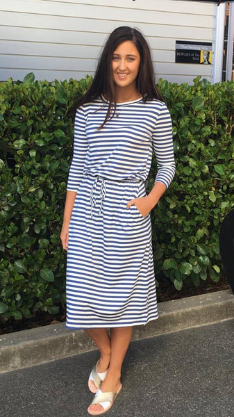 Becky 3/4 Sleeve Midi Dress Blue/White Stripe