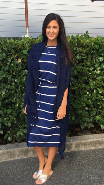 Bex Wide Stripe Tie Waist Midi Dress Blue/White