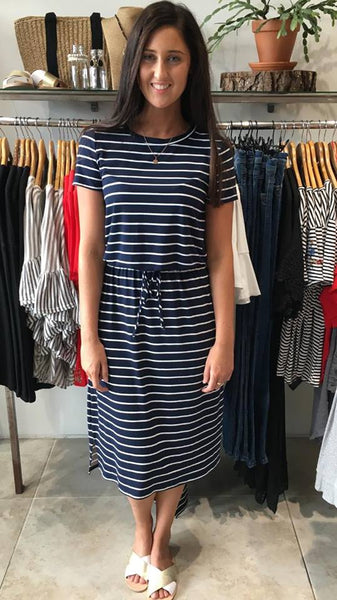 Bex Tie Waist Midi Dress Navy/White