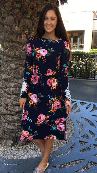 Ava Long Sleeve Midi Dress Navy Floral