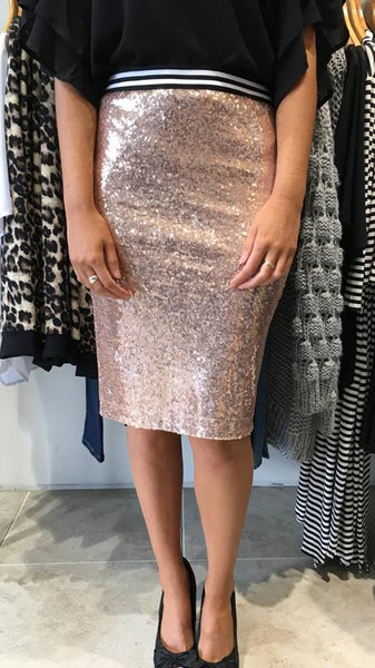Sea of Sequins Skirt  Rose Gold