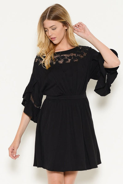 Jolene Black Boho Dress