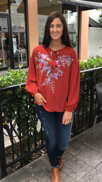 Esme Embroidered Blouse Rust