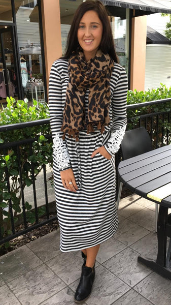 Ava Long Sleeve Midi Dress Charcoal Stripe