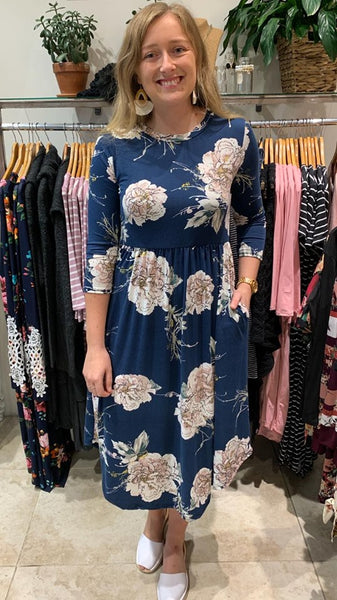 Julie Floral Dress Petrol Blue
