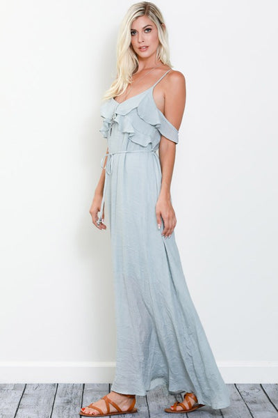 Whimsical Ruffle Maxi  CLOUD