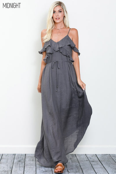 Whimsical Ruffle Maxi  MIDNIGHT