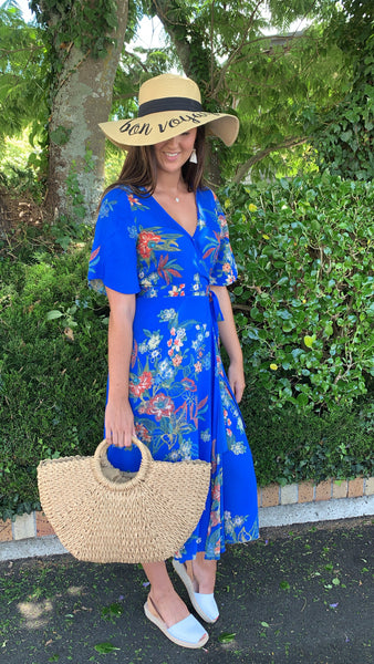 Savannah Wrap Dress Royal Blue