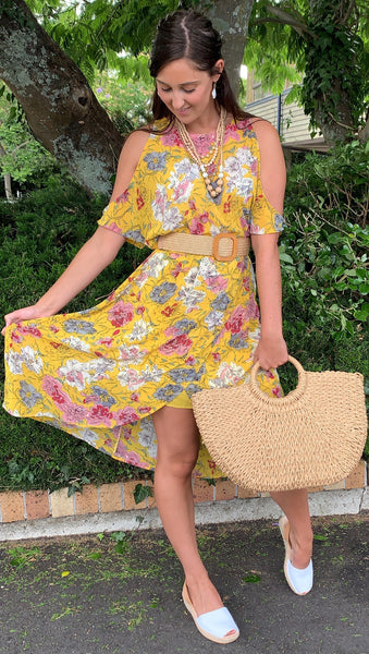 SoCal Cold Shoulder Dress  SUNSHINE