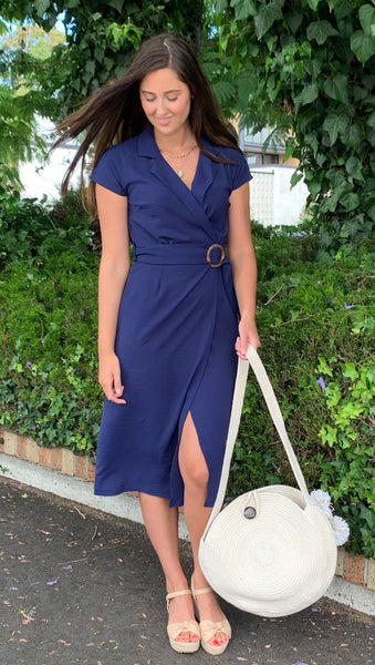 Camila Collared Midi Dress Navy