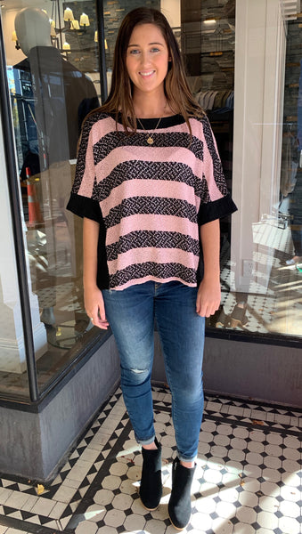 Chenille Knit Striped Top Mauve