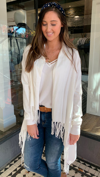 Cross My Heart Fringe Cardigan Ivory