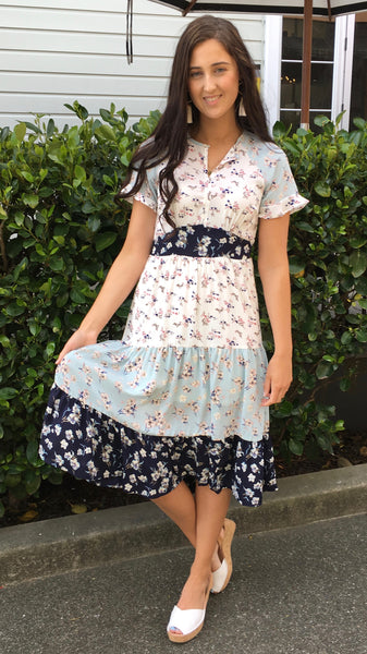 Mona Tiered Mixed Floral Midi Dress