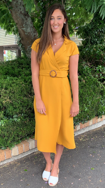 Camila Collared Midi Dress Mustard
