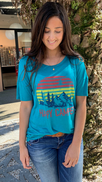 Happy Camper Tee Teal
