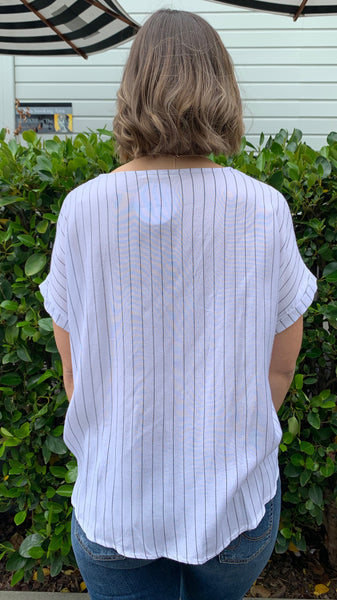 Lexi Embroidered Pinstripe Top Off White